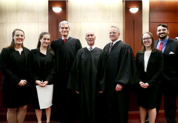 Hunter Moot Court 2018 finalists and Judges: Lauren Hill, April Gambardella, Judge Robert Kugler, Justice Lee Solomon, Judge John Michael Vazquez,  Amy Pearl, and Justin Mignogna
