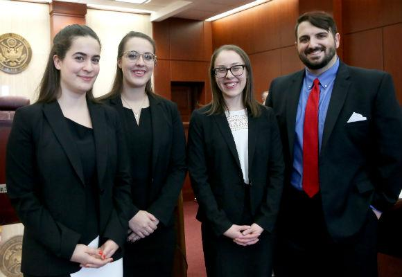 Hunter Moot Court finalists: Lauren Hill, April Gambardella, Amy Pearl, and Justin Mignogna