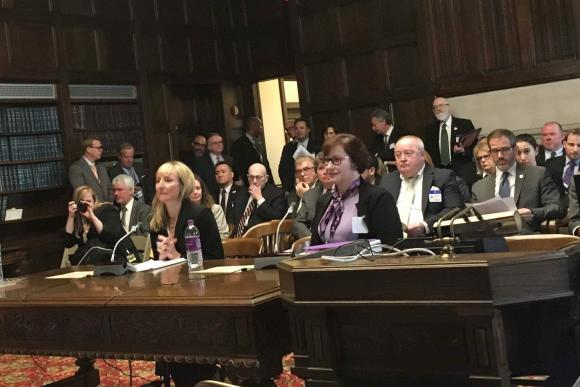 Two women are seated in the NJ Assembly testifying before a crowded room.
