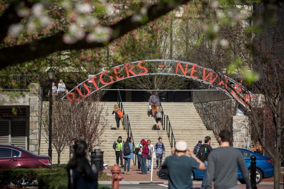 students walking in Newark