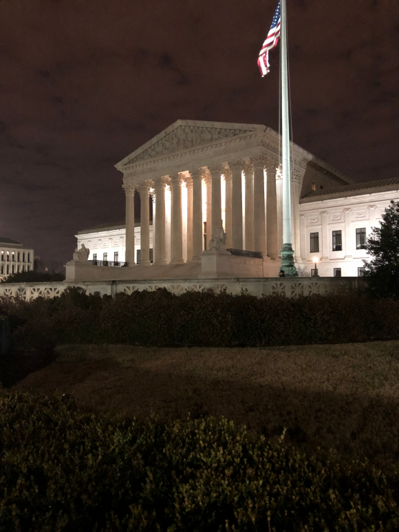 Supreme Court building at night, taken by the students.
