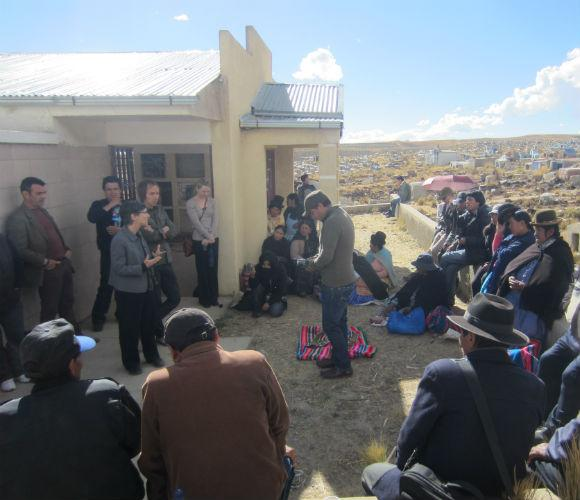 Beth Stephens meeting with families in Bolivia