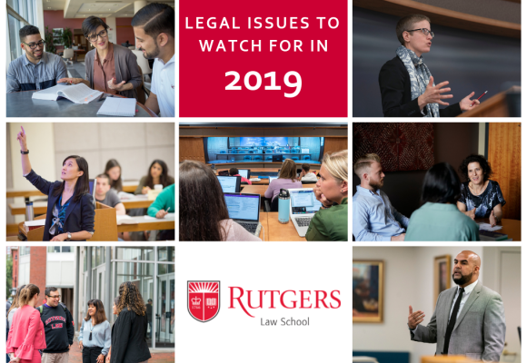 "A grid of faculty teaching photos with the text ""Legal Issues to Watch for in 2019"""