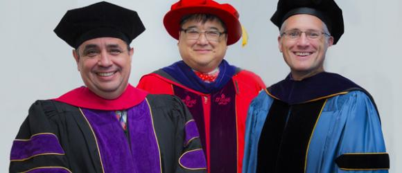 Co-Deans Cahill & Lopez with former co-Dean Ronald Chen.