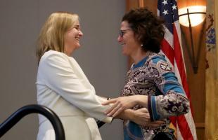 Burke with Prof. Ellen P. Goodman.