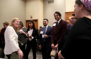Honoree Susan L. Burke talks with Rutgers Law students.