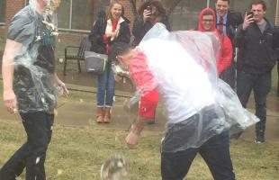 Professors throwing pie