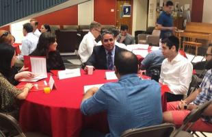 New Dean David Lopez meets students at orientation