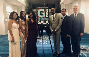 Students with Co-Dean Cahill at the GBSA Gala.