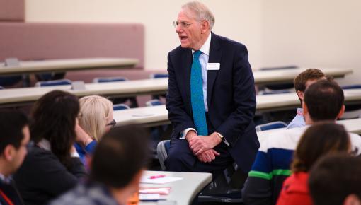 Professor Roger Clark talking to students