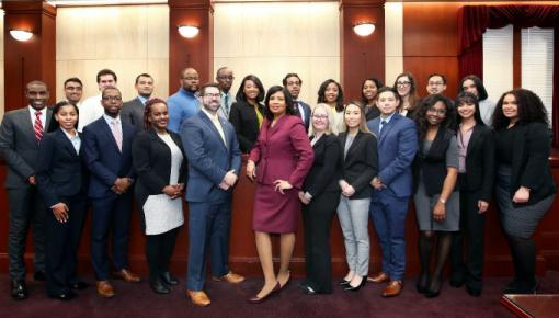 Minority Student Program Participants and MSP Director Rhasheda Douglas (center)